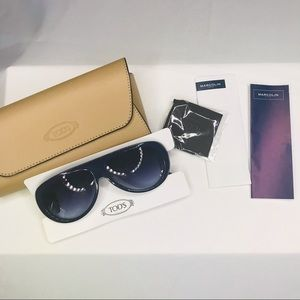 NWT Tod's 57mm Whipstitched Aviator Sunglasses